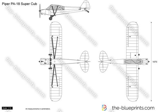 Piper PA-18 Super Cub vector drawing