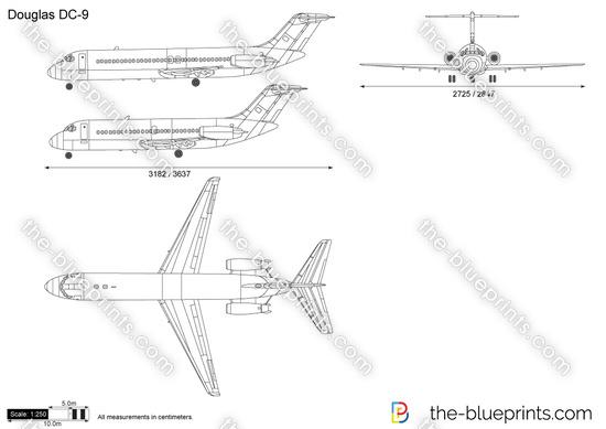 Douglas DC-9 vector drawing