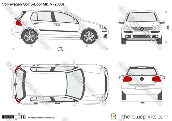 Volkswagen Golf 5-Door Mk. V vector drawing