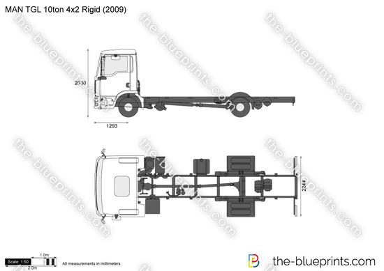 MAN TGL 10ton 4x2 Rigid vector drawing