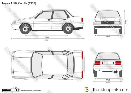 Toyota AE82 Corolla vector drawing