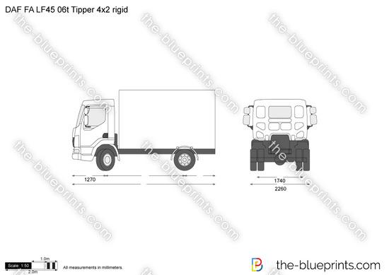 DAF FA LF45 06t Tipper 4x2 rigid vector drawing