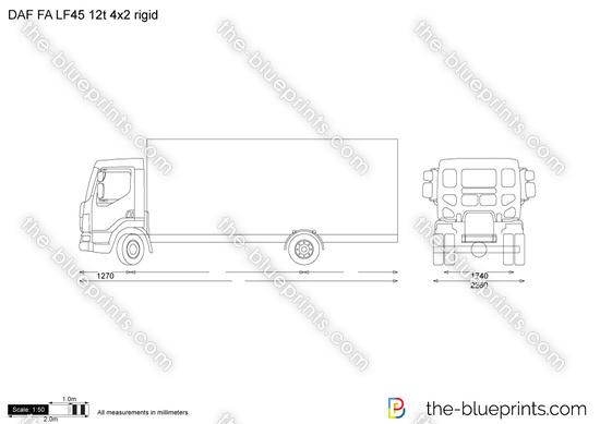 DAF FA LF45 12t 4x2 rigid vector drawing