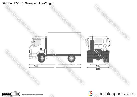 DAF FA LF55 15t Sweeper LH 4x2 rigid vector drawing
