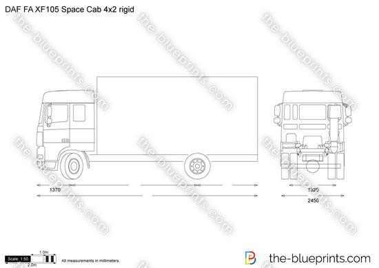 DAF FA XF105 Space Cab 4x2 rigid vector drawing