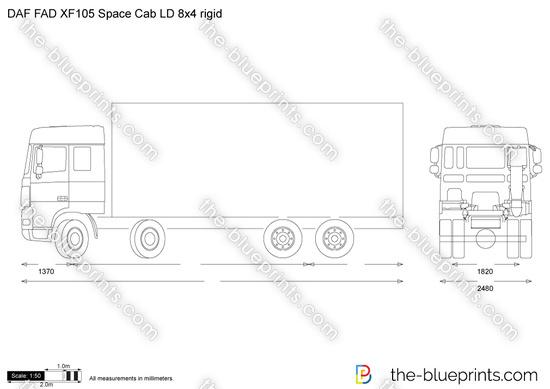DAF FAD XF105 Space Cab LD 8x4 rigid vector drawing