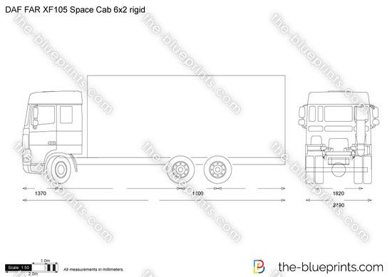 DAF FAR XF105 Space Cab 6x2 rigid vector drawing