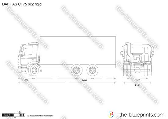 DAF FAS CF75 6x2 rigid vector drawing