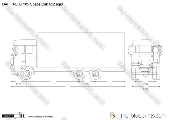 DAF FAS XF105 Space Cab 6x2 rigid vector drawing