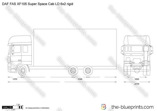 DAF FAS XF105 Super Space Cab LD 6x2 rigid vector drawing