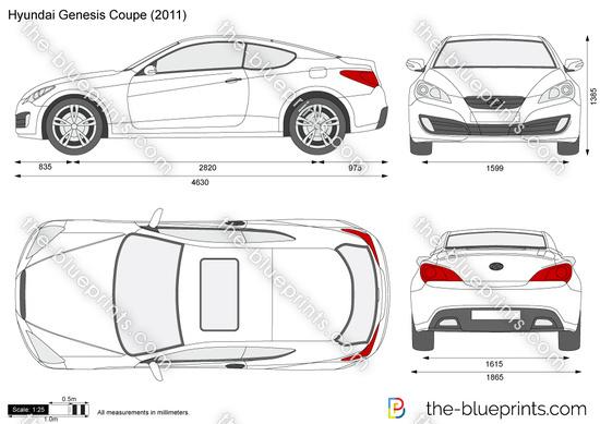 Hyundai Genesis Coupe vector drawing