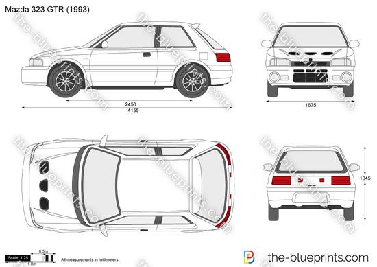Mazda 323 GTR vector drawing