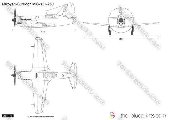 Mikoyan Gurevich Mig 13 I 250 Samolet N Vector Drawing