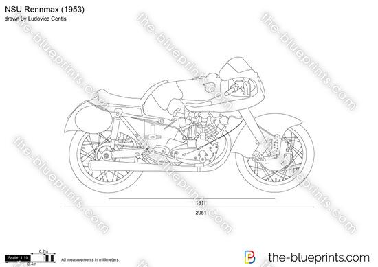 NSU Rennmax vector drawing