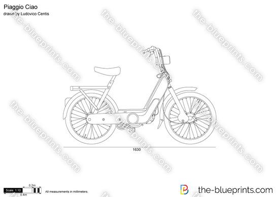 Piaggio Ciao v2 vector drawing