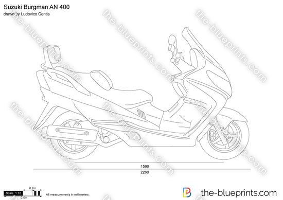 Suzuki Burgman AN 400 vector drawing
