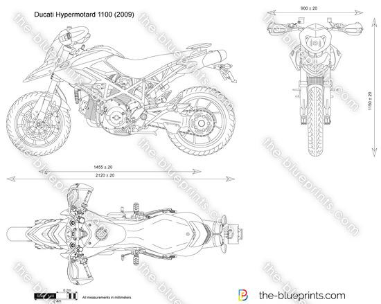 Ducati Hypermotard 1100 vector drawing