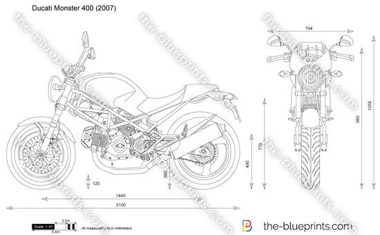 Ducati Monster 400 vector drawing