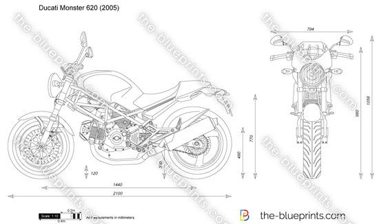 Ducati Monster 620 vector drawing