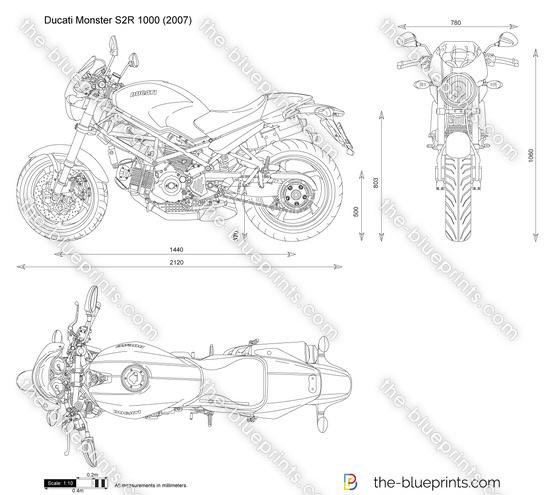 Ducati Monster S2R 1000 vector drawing