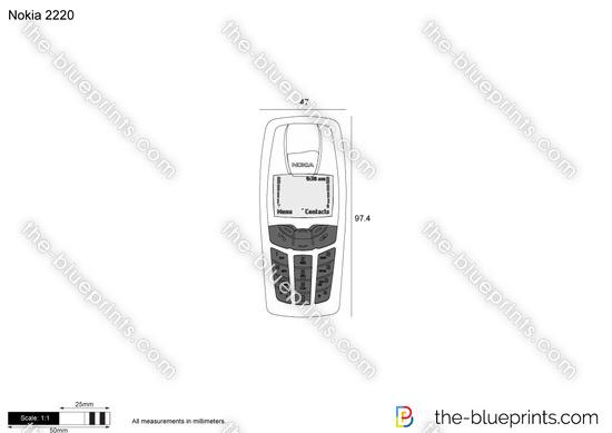 Nokia 2220 vector drawing