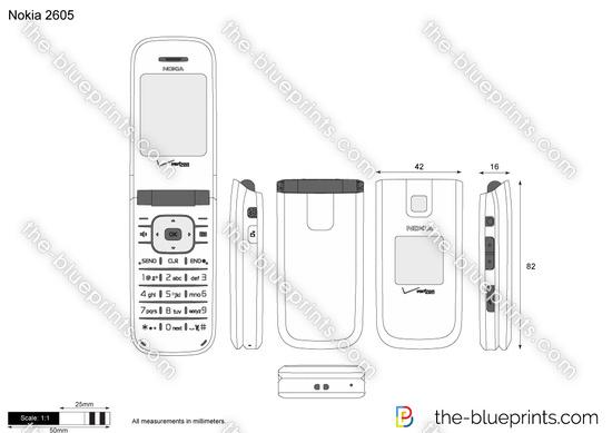 Nokia 2605 vector drawing