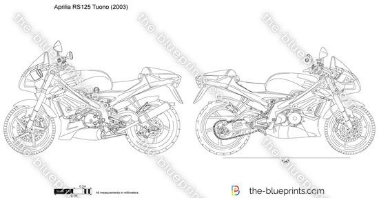 Aprilia RS125 Tuono vector drawing