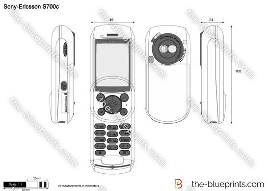 Sony-Ericsson S700c vector drawing