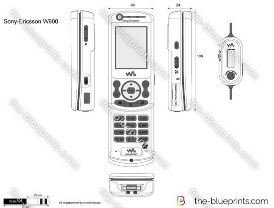 Sony-Ericsson W900 vector drawing