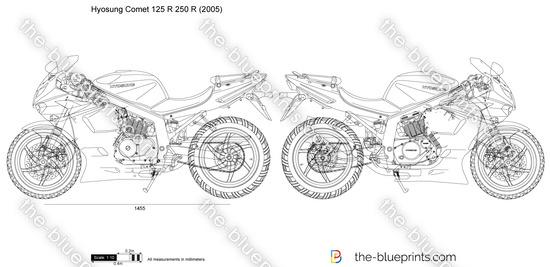 Hyosung Comet 125 R 250 R vector drawing