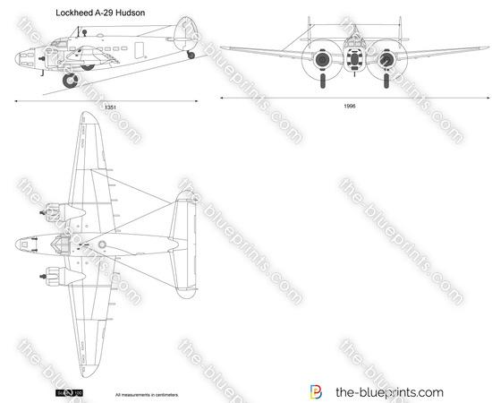 Lockheed A-29 Hudson vector drawing