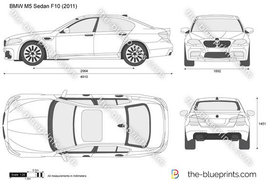 BMW M5 Sedan F10 vector drawing