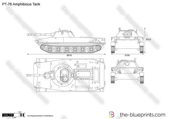 PT-76 Amphibious Tank vector drawing