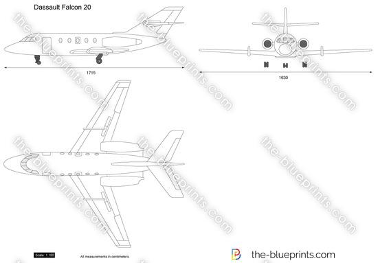 Dassault Falcon 20 vector drawing