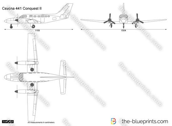 Cessna 441 Conquest II vector drawing