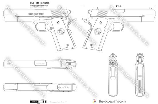 Colt 1911 .45 AUTO vector drawing