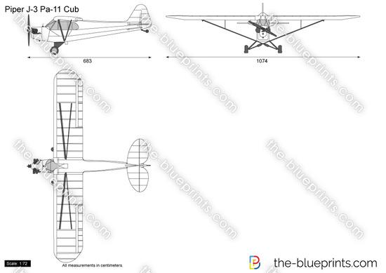 Piper J-3 Pa-11 Cub vector drawing
