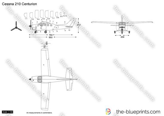 Cessna 210 Centurion vector drawing