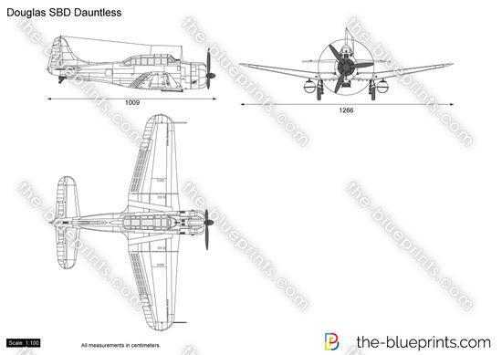 Douglas SBD Dauntless vector drawing