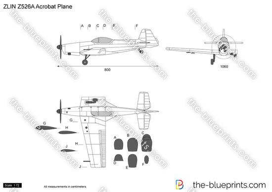 Zlin Z-526A Acrobat Plane vector drawing