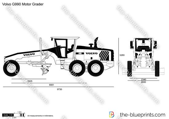Volvo G990 Motor Grader vector drawing