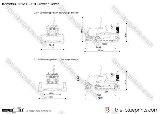 Komatsu D21A P-9E0 Crawler Dozer vector drawing