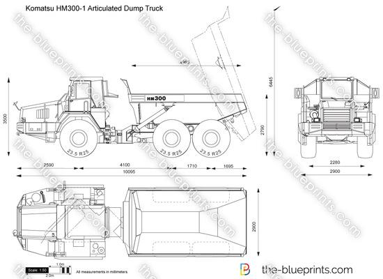 Komatsu HM300-1 Articulated Dump Truck vector drawing