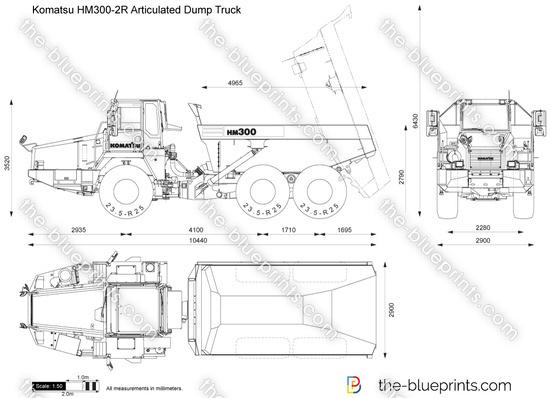 Komatsu HM300-2R Articulated Dump Truck vector drawing