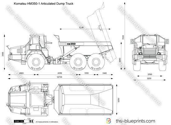 Komatsu HM350-1 Articulated Dump Truck vector drawing