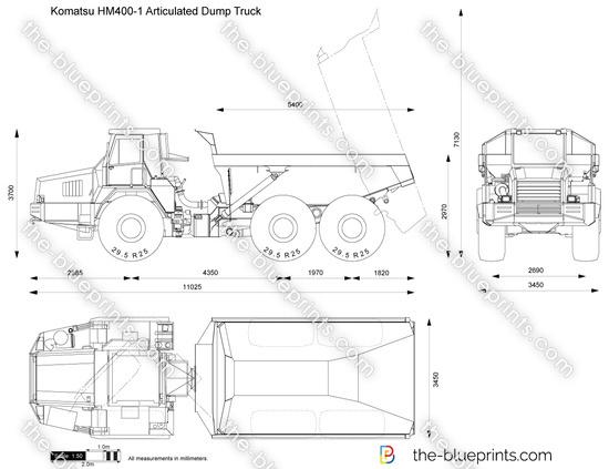 Komatsu HM400-1 Articulated Dump Truck vector drawing