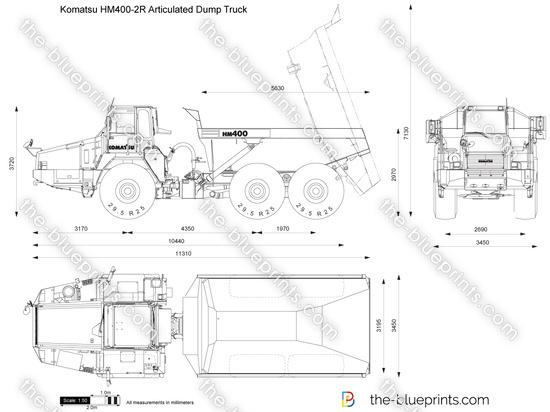 Komatsu HM400-2R Articulated Dump Truck vector drawing