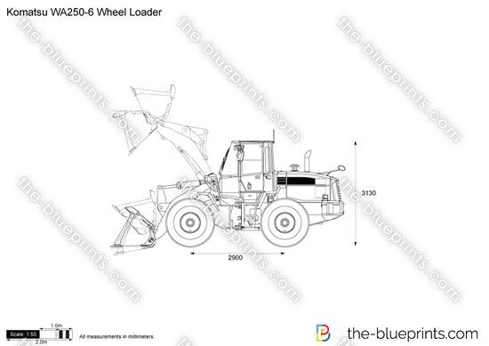 Komatsu WA250-6 Wheel Loader vector drawing