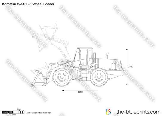 Komatsu WA430-5 Wheel Loader vector drawing