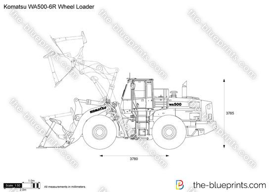 Komatsu WA500-6R Wheel Loader vector drawing